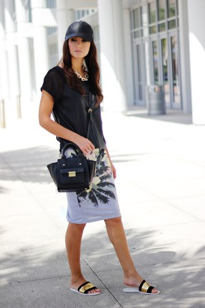 gold shoes - black 31 Phillip Lim bag - heather gray skirt