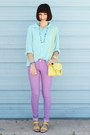 Light-yellow-bag-light-purple-forever-21-jeans-aquamarine-thrifted-shirt