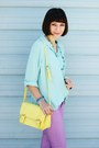 Light-purple-forever-21-jeans-aquamarine-thrifted-shirt-light-yellow-bag