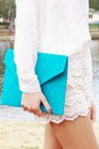 Eggshell-oasap-shorts-burnt-orange-shoes-white-shirt-turquoise-blue-bag