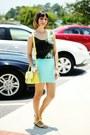 Light-yellow-bag-aquamarine-forever-21-skirt-chartreuse-galaxy-romwe-top