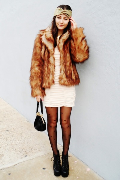 burnt orange faux fur H&M coat - eggshell H&M dress - black asos tights
