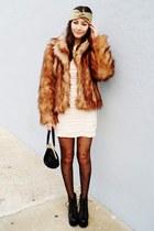 burnt orange faux fur H&M coat - eggshell H&M dress - black asos tights