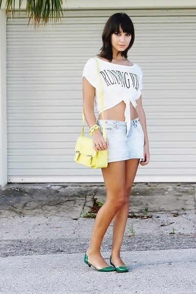 light yellow bag - green shoes - white top