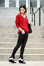 Black-vintage-coat-ruby-red-oasap-sweater-black-h-m-pants