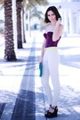 Turquoise-blue-pieces-bag-purple-vedette-top-ivory-h-m-pants