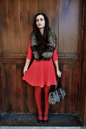 red dress - brick red tights