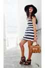 Black-skala-hat-navy-striped-dress-tan-satchel-bag-black-diva-wedges