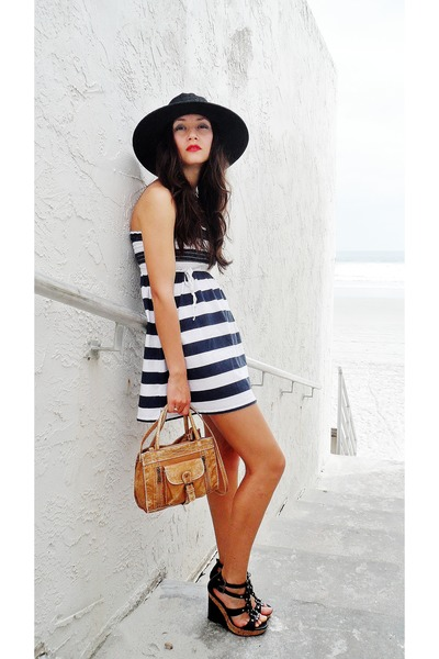 navy striped dress - black skala hat - tan satchel bag - black diva wedges