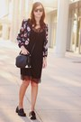 black lingerie H&M dress - magenta Sheinside jacket - black H&M bag