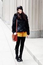 black faux fur coat - black boots - brick red bag - tawny diy shorts