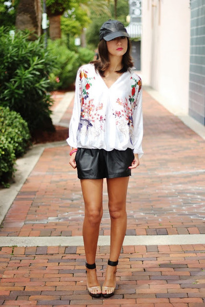white floral blouse - black leather hat - black faux leather shorts