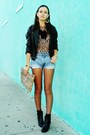 Forever-21-boots-diy-bag-levis-shorts-jc-penny-earrings-dana-buchman-top