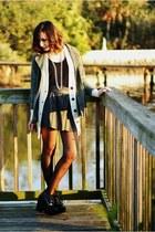 black AX Paris skirt - dark green Jeffrey Campbell wedges