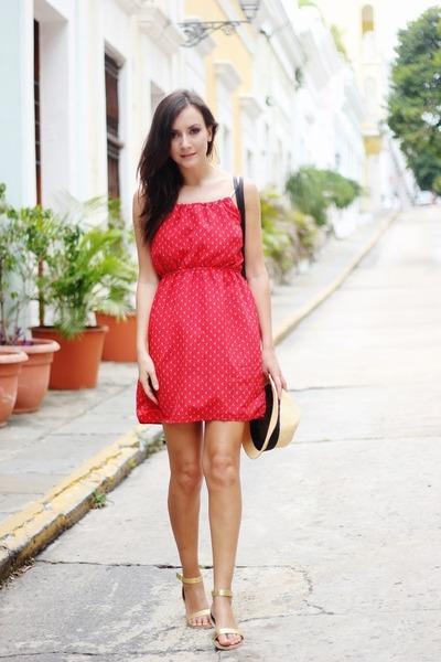 Red dress rose gold heels
