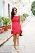 red dress - gold sandals