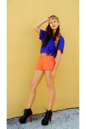 black shoes - carrot orange shorts - blue top - orange accessories - gold belt