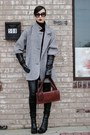 Heather-gray-coat-brick-red-glove-clutch-maison-martin-margiela-bag