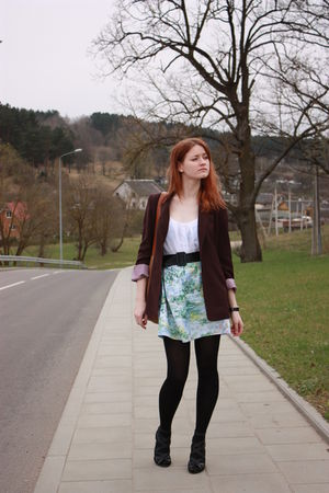 trifted jacket - Farhi blouse - handmade skirt - handmade purse - Zara shoes