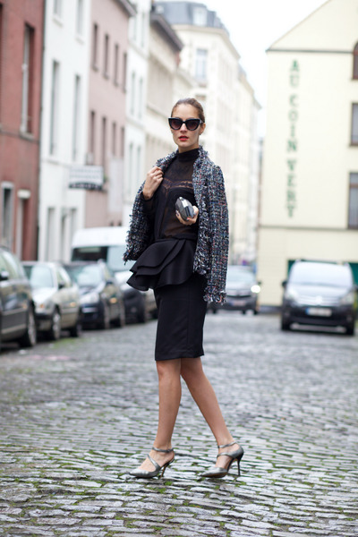 shein coat - Marie& Frisco skirt - Star Harvest Jewelry earrings
