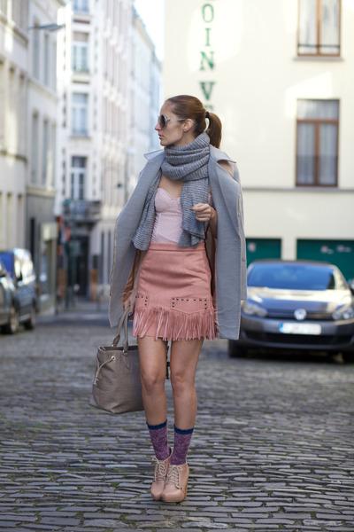 romwe coat - tabbisocks socks - Choies skirt