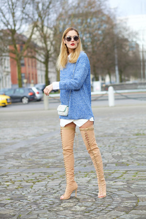 Choies boots - romwe sweater - Freyrs sunglasses