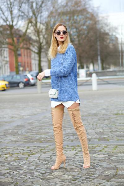 Choies boots - romwe sweater - Freyrs sunglasses