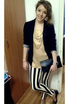 black Bershka jacket - cream Zara blouse - black no name pants