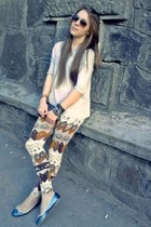 bronze no brand pants - periwinkle Bershka blouse