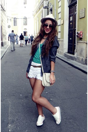 white Zara shorts - charcoal gray unknown brand jacket - cream unknown brand bag