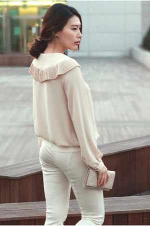 neutral blouse blouse - ivory pants pants