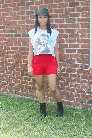 ruby red unknown shorts - black combat boots Candies shoes - black unknown hat