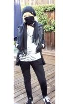 black MinkPink jacket - black blazer sbs nike shoes - gray BDG sweater