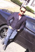 custom blazer - shoes - 511 Custom LEVIS jeans - shirt - sunglasses - tie