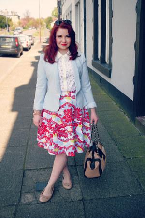 Wear Eponymous blazer - white Boohoo shirt - red Topshop skirt