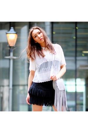 black fringed Zara skirt - heather gray silver fringed Zara bag