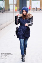 faux fur navy French Connection coat - blue ripped LTB Jeans jeans - Reiss bag