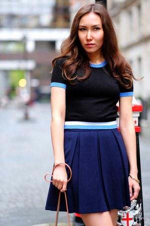 beige messenger Zara bag - navy Joy skirt - Forever 21 top