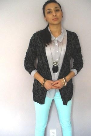 light purple shirt - light blue pastel pants - black cheetah print cardigan