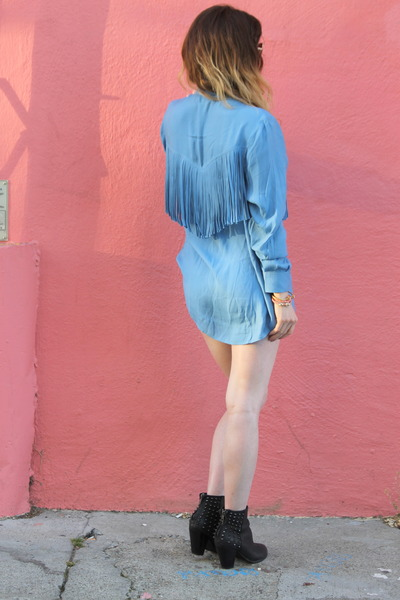 fringe Torn by Ronny Kobo shirt - studded leather Steve Madden boots