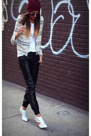white Alexander Wang heels - beanie hat - multi color IRO jacket - leather pants
