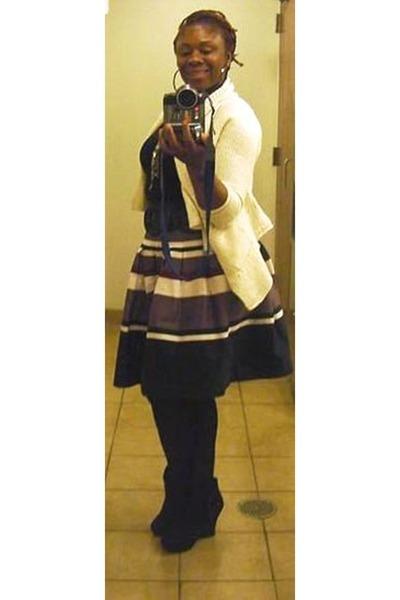 skirt H&M skirt - cream sweater Michael Kors sweater - Express wedges