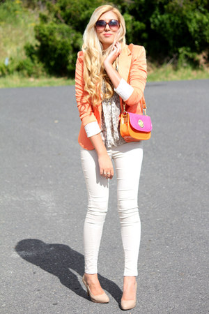 orange Zara blazer