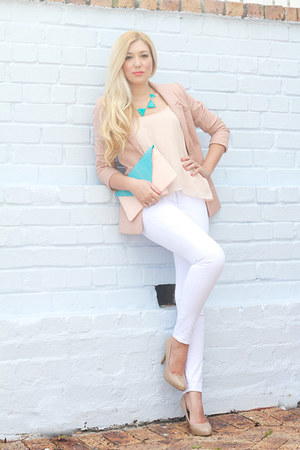 aquamarine Pree Brulee necklace - light pink H&amp;M blazer