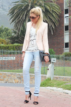 neutral peplum Zara jacket - black studded Zara bag - black Zara heels