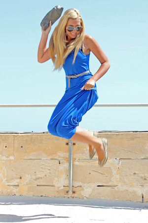 blue maxi Boohoo dress