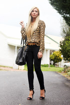 dark brown Zara blouse - black Steve Madden bag - black Zara heels