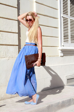 blue maxi Boohoo skirt