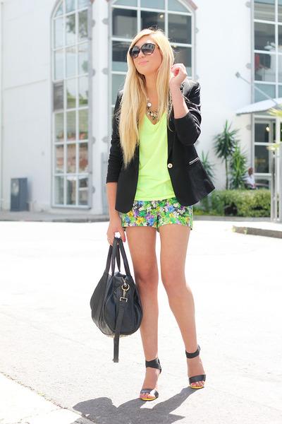 chartreuse Zara shorts