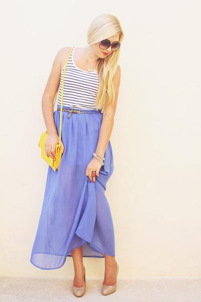 blue maxi Boohoo skirt